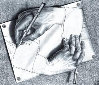 Bild zweier Hände von M. C. Escher